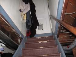 clothes hanging on stairs - trip